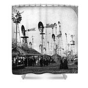 World's Fair Windmills Shower Curtain