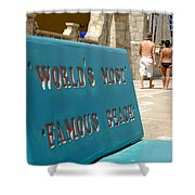 Worlds Most Famous Beach Bench Shower Curtain