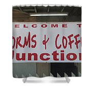 Worms And Coffee Junction Shower Curtain