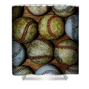 Worn Out Baseballs Shower Curtain