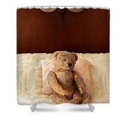 Worn Teddy Bear On Bed Shower Curtain