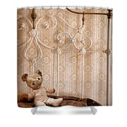 Worn Teddy Bear On Brass Bed Shower Curtain