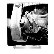Worn Western Leather Boot With Spur In Stirrup Conte Crayon Black And White Digital Art Shower Curtain by Shawn O'Brien