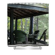 Worn Wicker Chairs On Old Veranda Shower Curtain