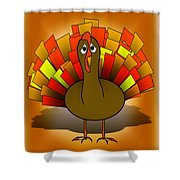 Worried Turkey Illustration Shower Curtain