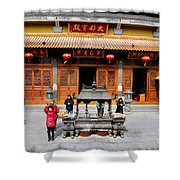 Worshipers In Urn Courtyard Of Chinese Temple Shanghai China Shower Curtain