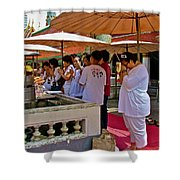 Worshippers In Front Of The Royal Temple  At Grand Palace Of Tha Shower Curtain