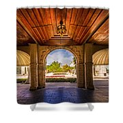Worth Avenue Courtyard Shower Curtain by Debra and Dave Vanderlaan