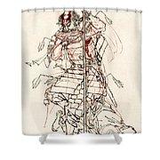 Wounded Samurai Drinking Sake C. 1870 Shower Curtain by Daniel Hagerman