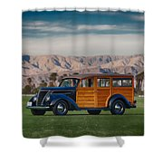 Wow Woodie Shower Curtain