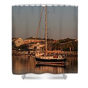 Wrightsville Beach Boat In Harbor Shower Curtain
