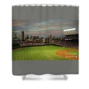 Wrigley Field At Dusk Shower Curtain by John Gaffen