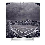 Wrigley Field Night Game Chicago Bw Shower Curtain