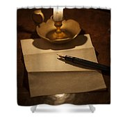 Writing A Letter By Candle Light Shower Curtain