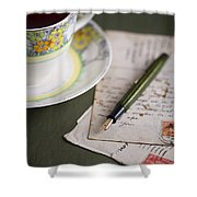 Writing A Post Card Shower Curtain