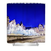 Wroclaw Poland The Market Square And The Famous Fountain At Night Shower Curtain