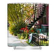 Wrought Iron Fence Balcony And Staircases Verdun Stairs Summer Scenes Carole Spandau  Shower Curtain