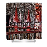 Wrought Iron Fence Spears Shower Curtain