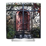 Wrought Iron Gate And Red Door Charleston South Carolina Shower Curtain