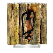 Wrought Iron Handle Shower Curtain