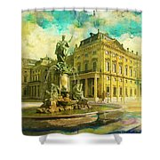 Wurzburg Residence With The Court Gardens And Residence Square Shower Curtain by Catf