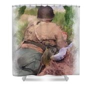 Ww II Us Army Soldier Photo Art Shower Curtain