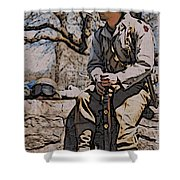 Wwii Soldier Two Shower Curtain