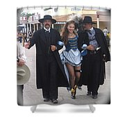 Wyatt Earp  Doc Holliday Escort  Woman  With O.k. Corral In  Background 2004 Shower Curtain