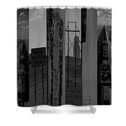 Wyoming Coal Mine Composition Black And White Shower Curtain