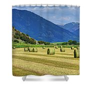 Wyoming Mountain Hay Farm Shower Curtain