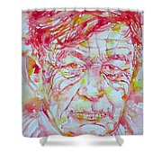 Wystan Auden  Watercolor Portrait Shower Curtain
