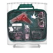 X-ray Of A Briefcase With A Gun Shower Curtain