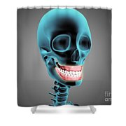 X-ray View Of Human Skeleton Showing Shower Curtain