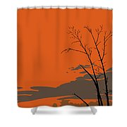 Abstract Tropical Birds Sunset Large Pop Art Nouveau Landscape 3 - Left Side Shower Curtain