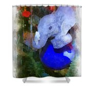 Xmas Elephant Ornament Photo Art 02 Shower Curtain