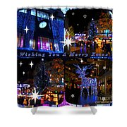 Xmas Greeting Collage Shower Curtain