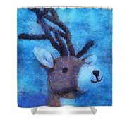 Xmas Reindeer 01 Photo Art Shower Curtain