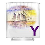 Y Art Alphabet For Kids Room Shower Curtain by Irina Sztukowski