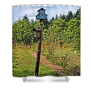 Yachats  Oregon - Blue Birdhouse Shower Curtain