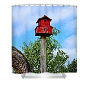 Yachats Red Birdhouse Shower Curtain