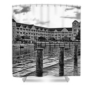 Yacht And Beach Club After The Rain In Black And White Walt Disney World Shower Curtain