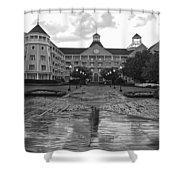 Yacht And Beach Club In Black And White Walt Disney World Shower Curtain