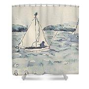 Yacht At Arcachon Shower Curtain