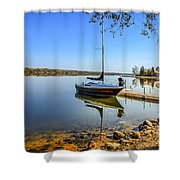 Yacht At The Little Manitou Lake Shower Curtain