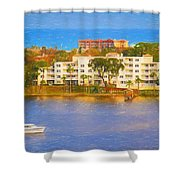 Yacht On The Water Shower Curtain