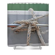 Yacht Secured To A Jetty  Shower Curtain