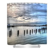 Yacht Storming Morning Shower Curtain