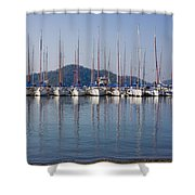 Yachts Docked In The Harbor Gocek Shower Curtain by Christine Giles