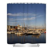 Yachts In A Marina At Sunset Shower Curtain