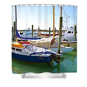 Yachts In A Port 4 Shower Curtain